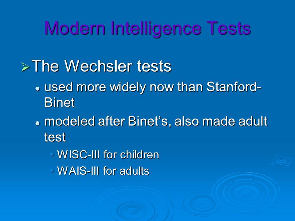 Modern Intelligence Tests