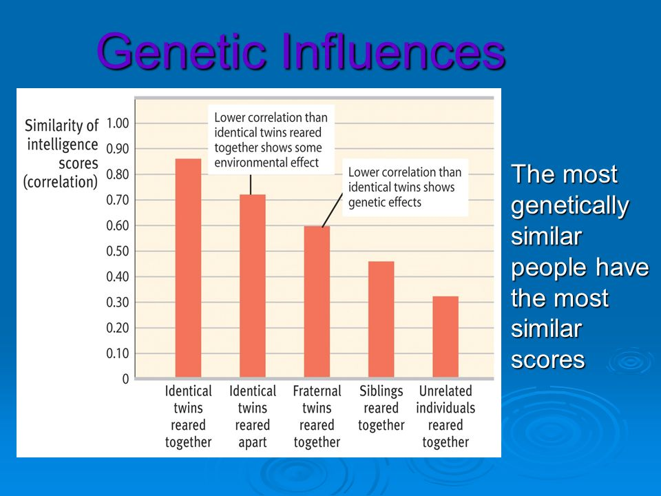 Genetic Influences The most genetically similar people have the most similar scores