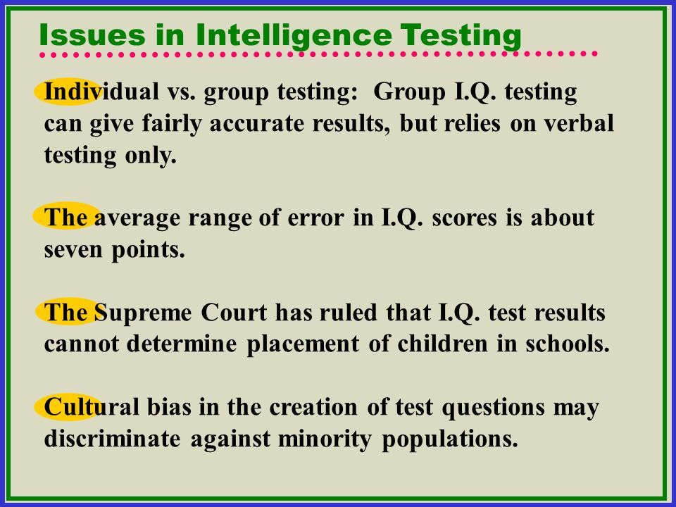 Issues in Intelligence Testing