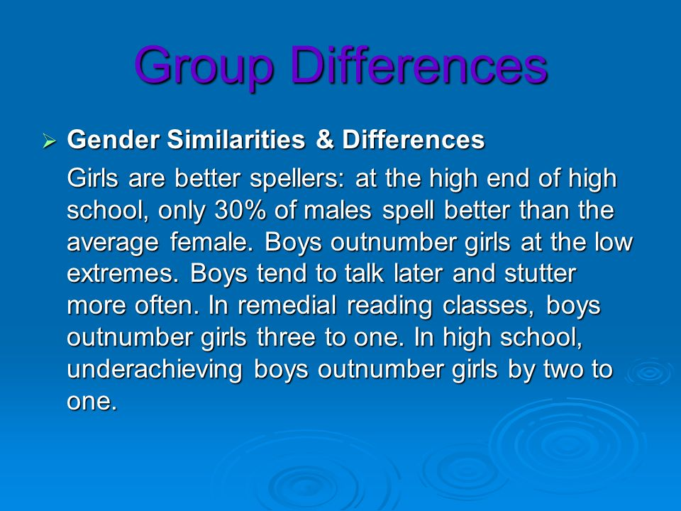 Group Differences Gender Similarities & Differences