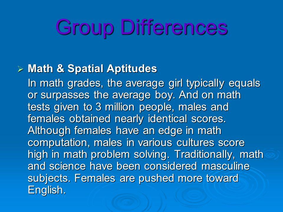 Group Differences Math & Spatial Aptitudes