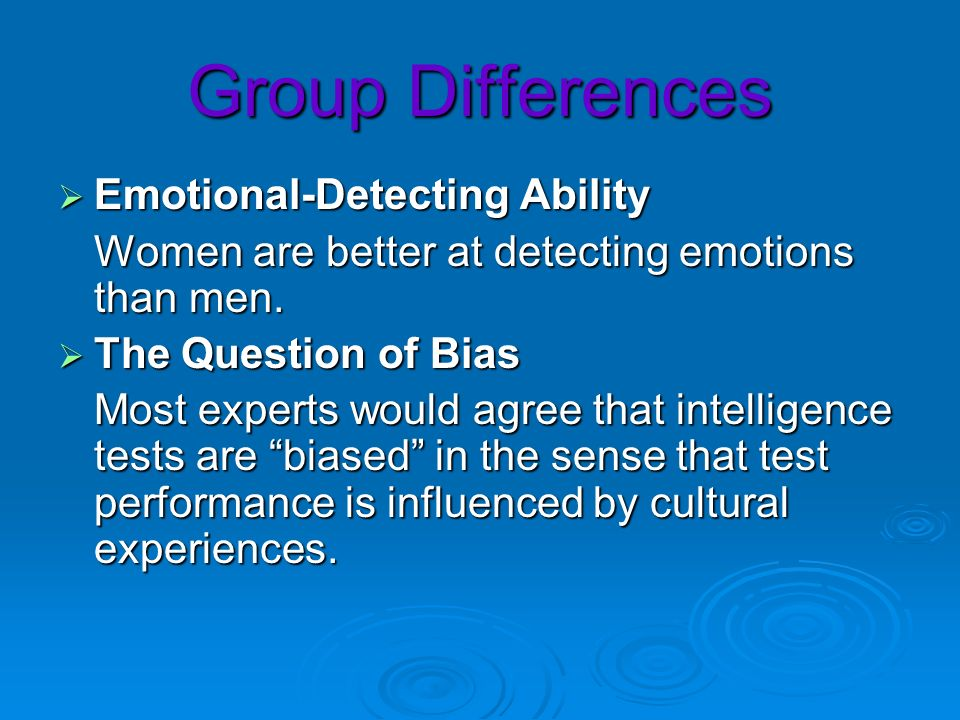 Group Differences Emotional-Detecting Ability