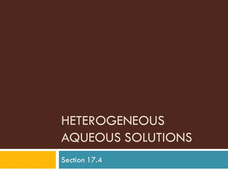 Heterogeneous Aqueous Solutions
