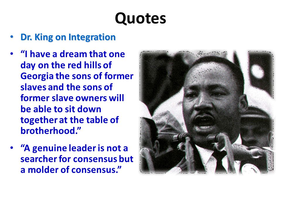 Quotes Dr. King on Integration