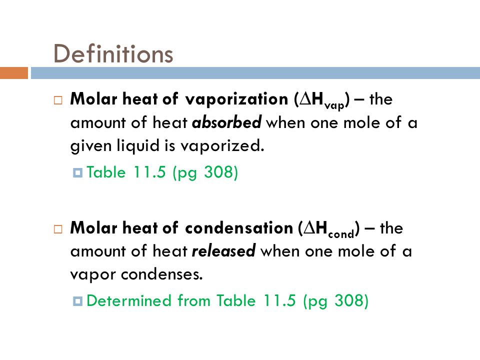 Definitions Molar heat of vaporization (∆Hvap) – the amount of heat absorbed when one mole of a given liquid is vaporized.