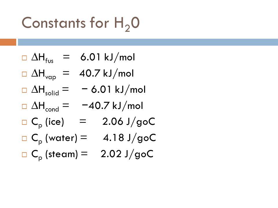 Constants for H20 ∆Hfus = 6.01 kJ/mol ∆Hvap = 40.7 kJ/mol