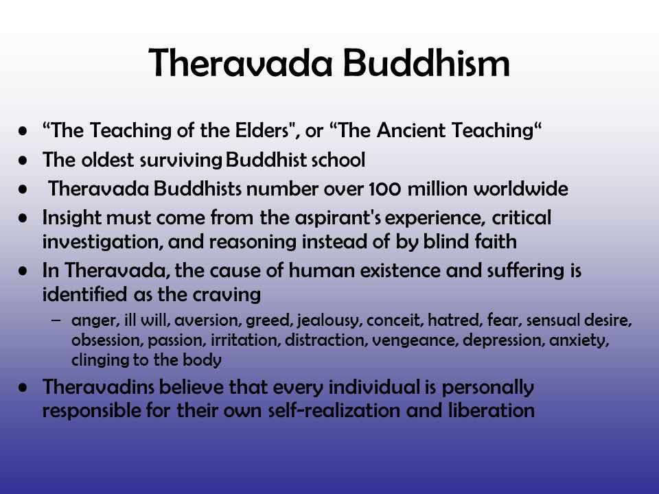 Theravada Buddhism The Teaching of the Elders , or The Ancient Teaching The oldest surviving Buddhist school.