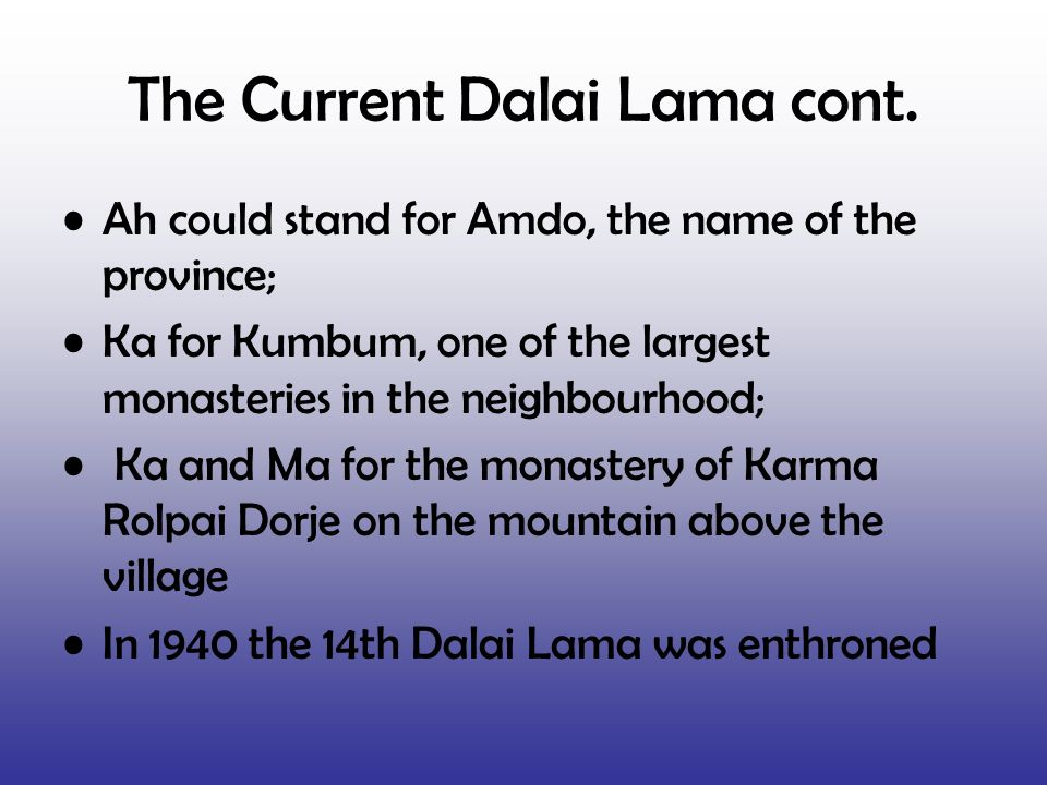 The Current Dalai Lama cont.