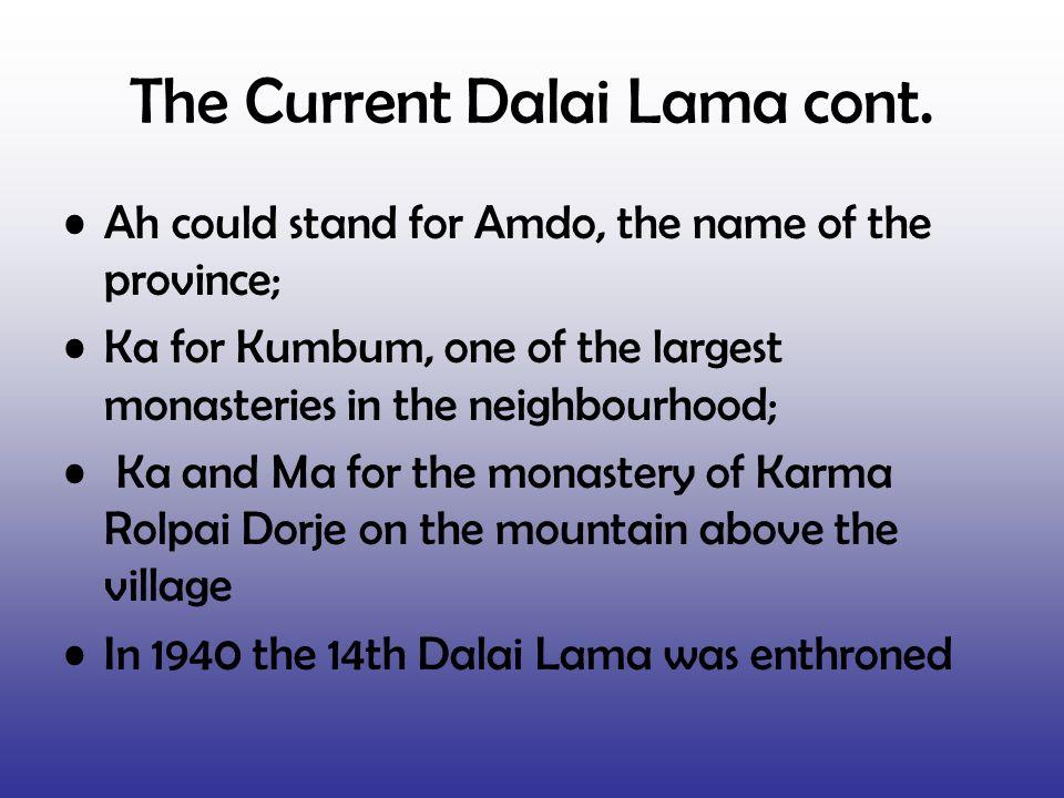 The Current Dalai Lama cont.
