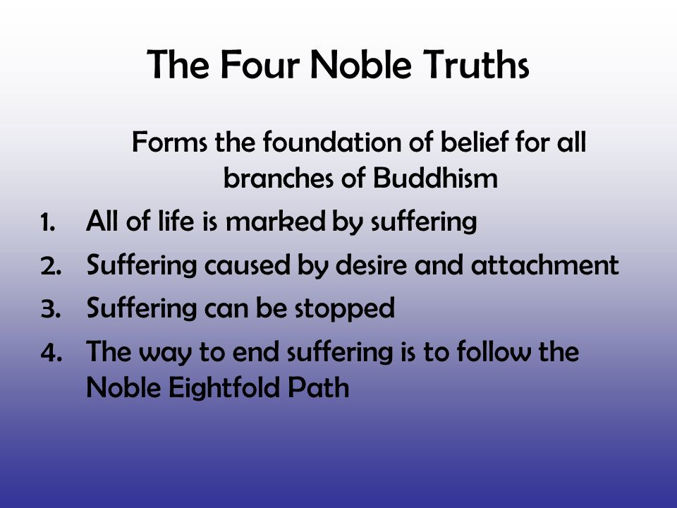 Forms the foundation of belief for all branches of Buddhism