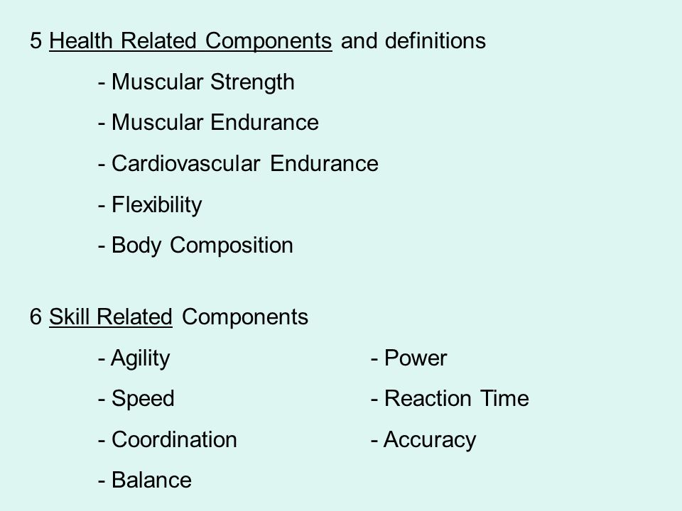 5 Health Related Components and definitions