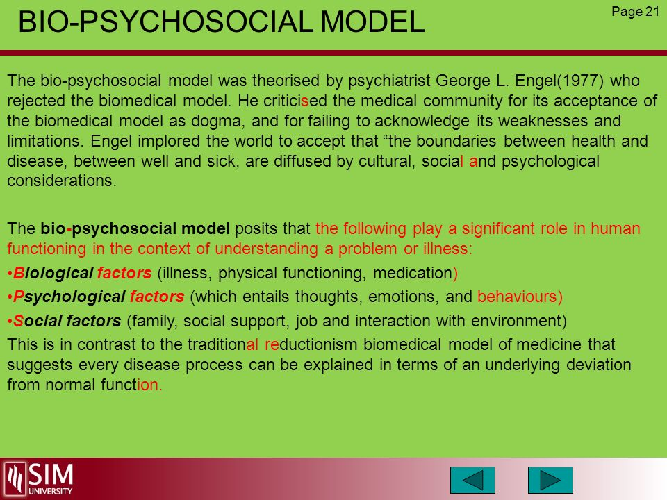 the bio psychosocial model in healthcare In all our teaching, we invite students to conceptualize patient problems by using  a bio-psycho-social-spiritual formulation this model is used throughout our.