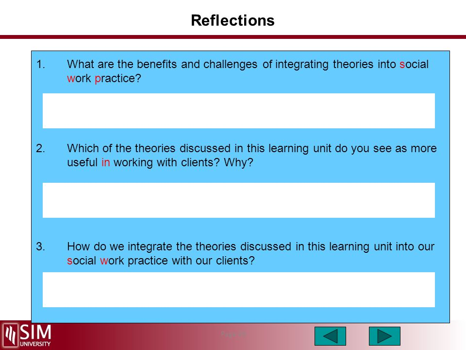 Social work theory into practice