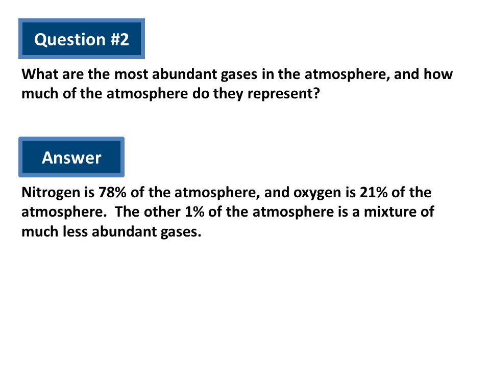Question #2 What are the most abundant gases in the atmosphere, and how much of the atmosphere do they represent