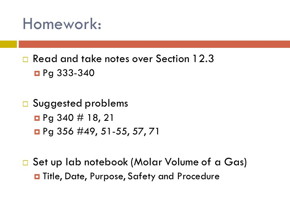 Homework: Read and take notes over Section 12.3 Suggested problems