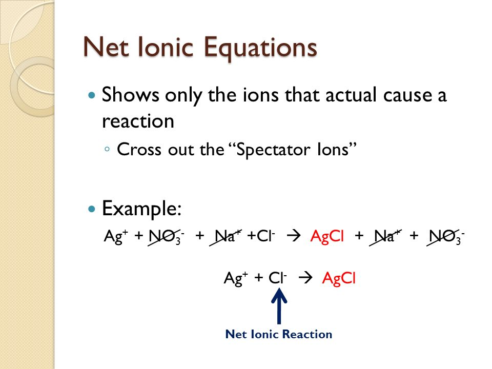 Net Ionic Equations Shows only the ions that actual cause a reaction