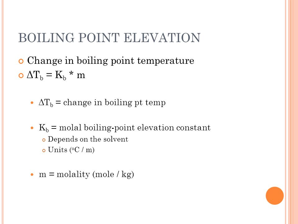 BOILING POINT ELEVATION