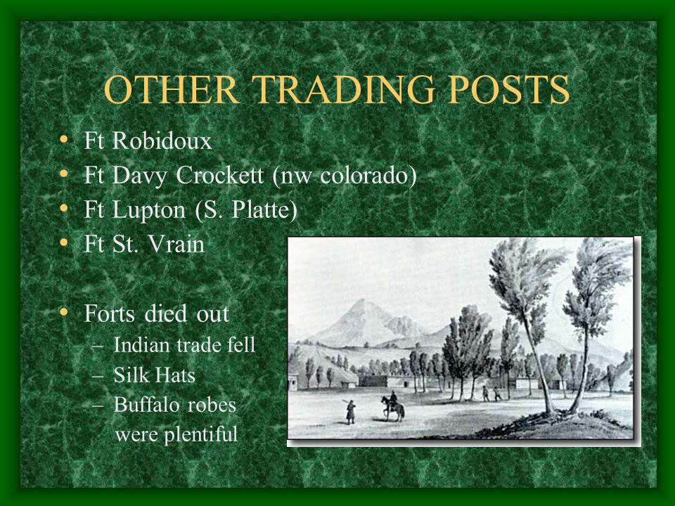 OTHER TRADING POSTS Ft Robidoux Ft Davy Crockett (nw colorado)