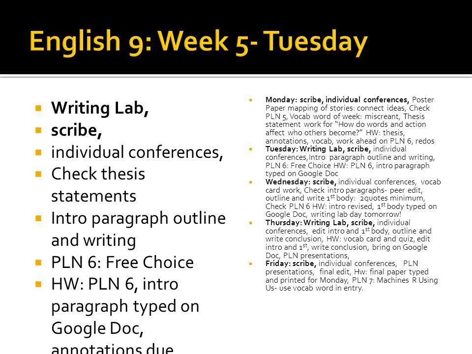 English 9: Week 5- Tuesday