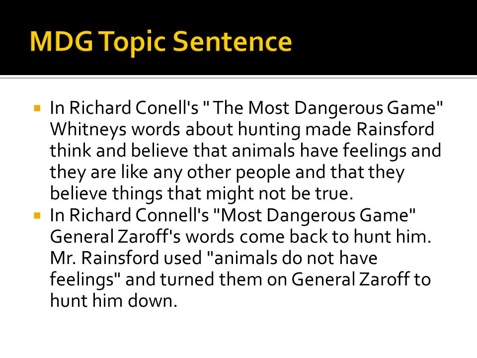 MDG Topic Sentence