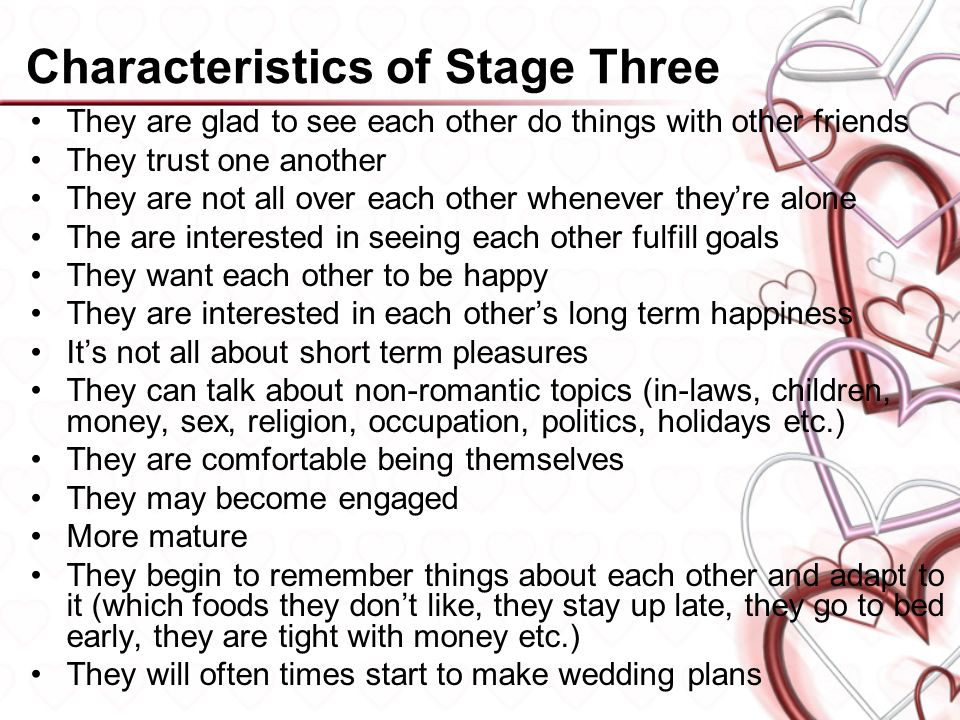 What are the three stages of dating