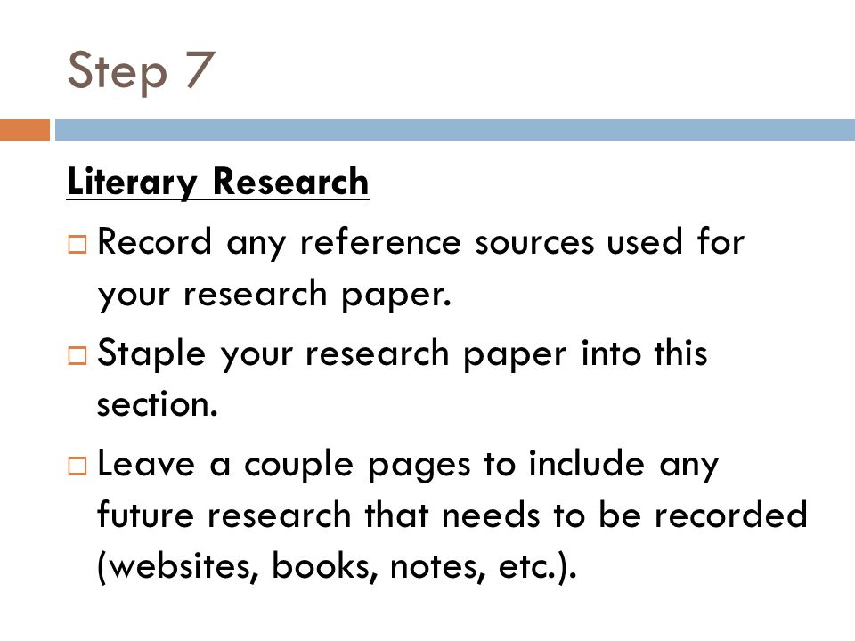 science fair logbooks ppt video online  step 7 literary research