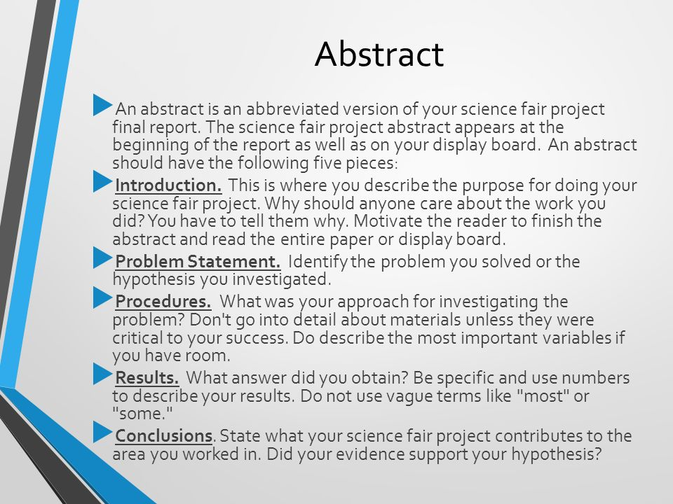 science fair research paper abstract Our expert writers can help with writing a research paper for your science fair it will be the best report you've ever seen.