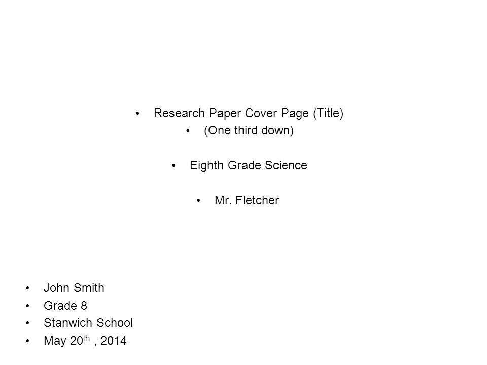 Standard cover page for research paper