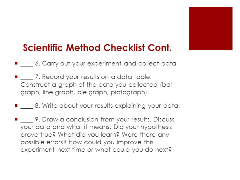 checklist for scientific experiments and results Checklist for experimental design page 17  church of googlism will only return results with that exact string  science eei's: how to write a scientific.