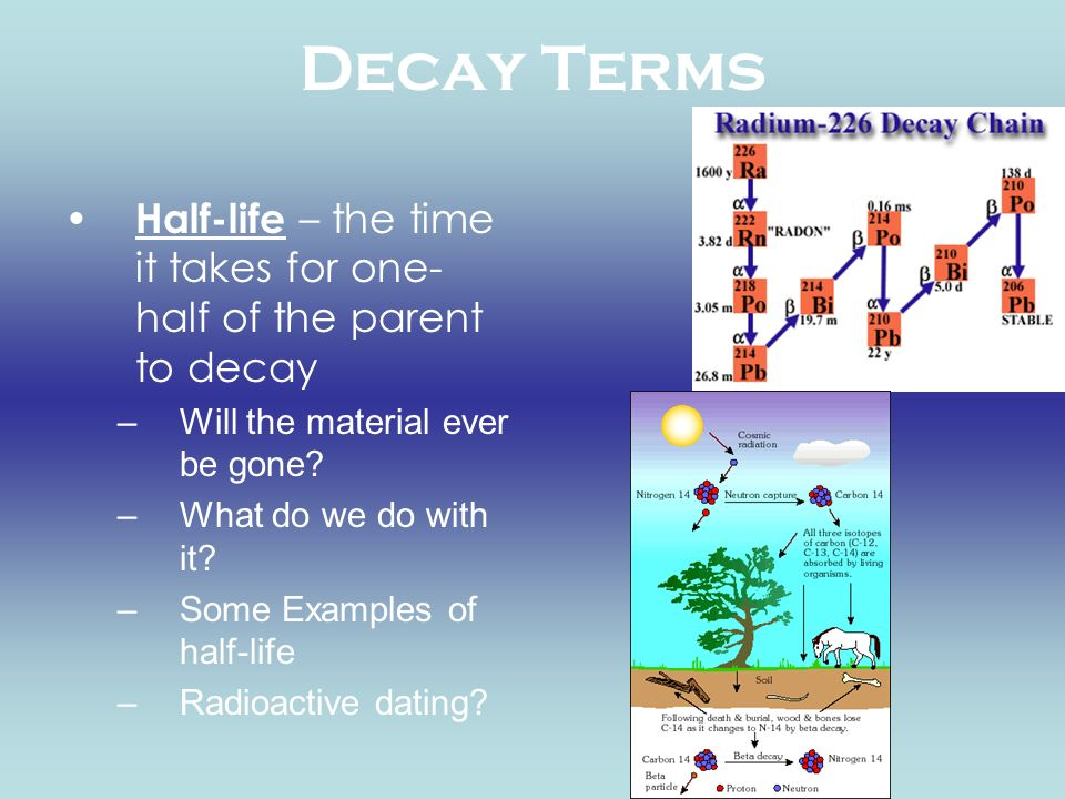 Decay Terms Half-life – the time it takes for one-half of the parent to decay. Will the material ever be gone