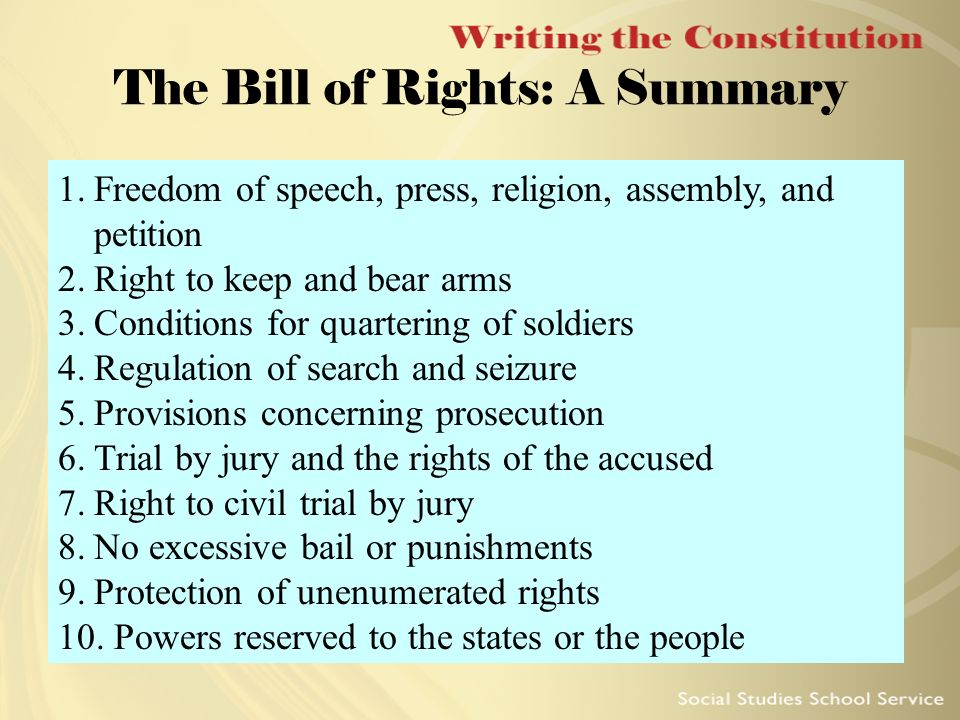 Bill of rights first amendment summary