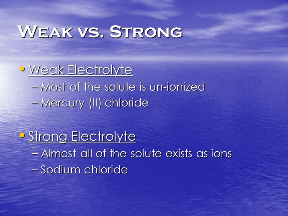 Weak vs. Strong Weak Electrolyte Strong Electrolyte