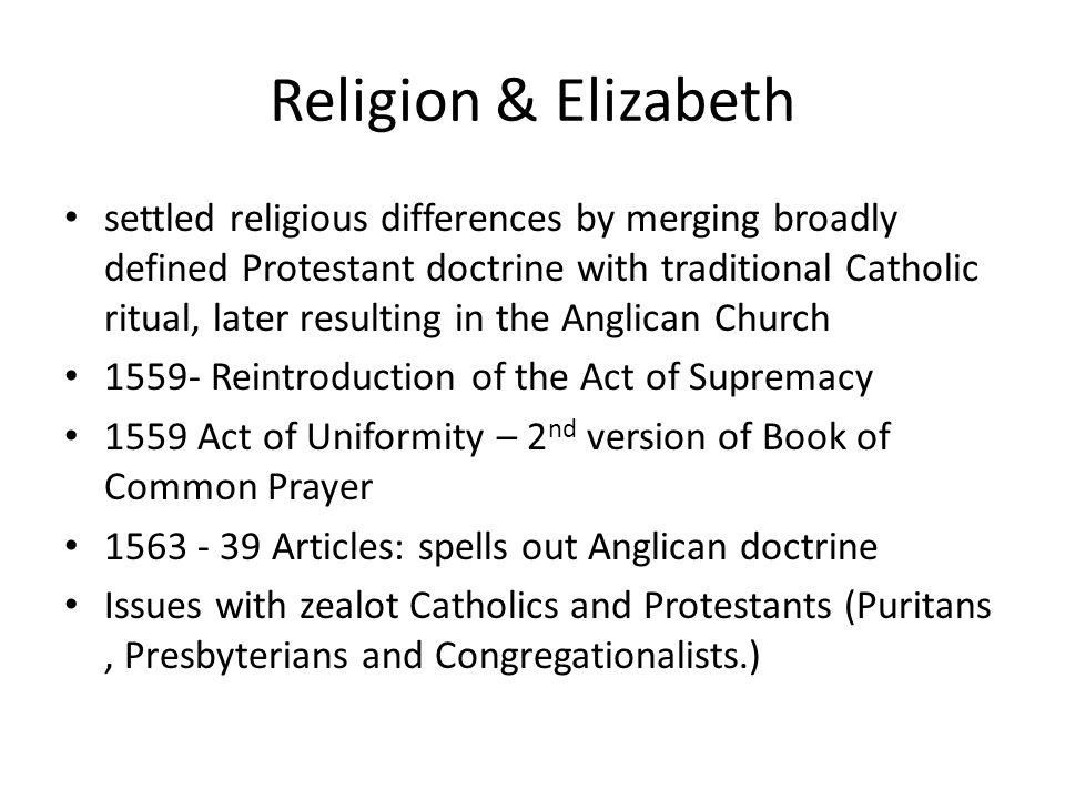 Religion & Elizabeth