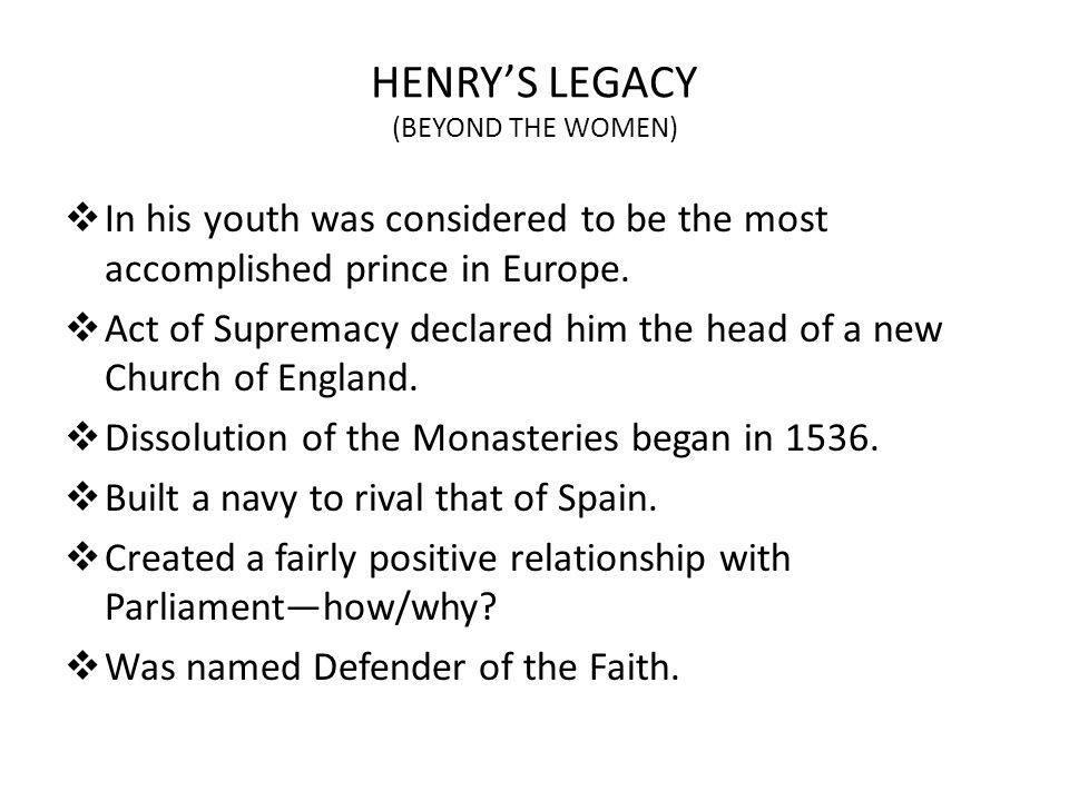 HENRY'S LEGACY (BEYOND THE WOMEN)