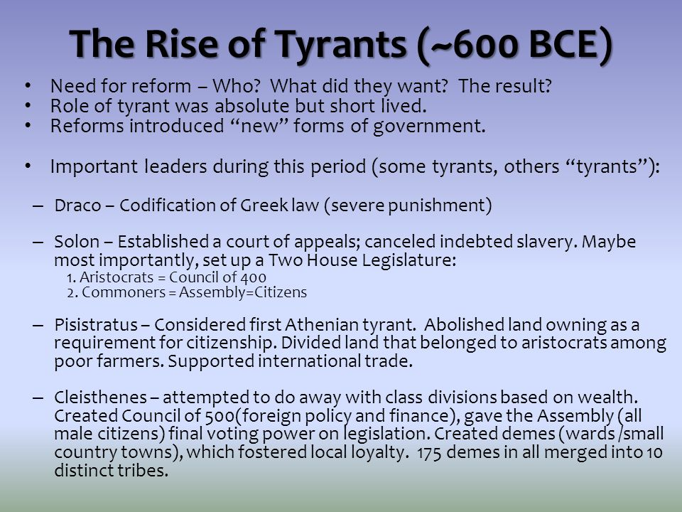 The Rise of Tyrants (~600 BCE)