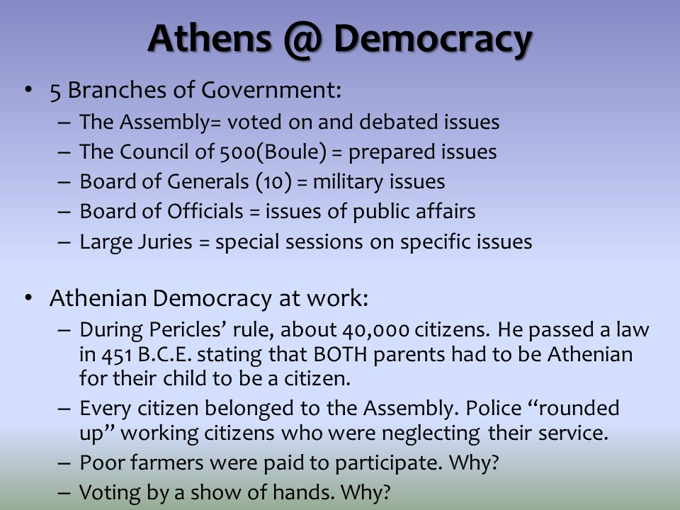 Athens @ Democracy 5 Branches of Government:
