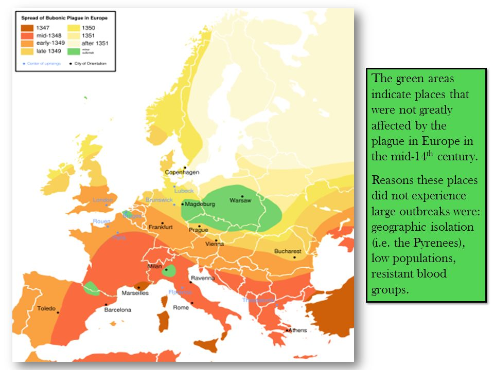 The green areas indicate places that were not greatly affected by the plague in Europe in the mid-14th century.