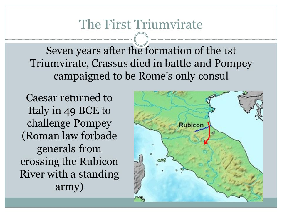 The First Triumvirate Seven years after the formation of the 1st Triumvirate, Crassus died in battle and Pompey campaigned to be Rome's only consul.