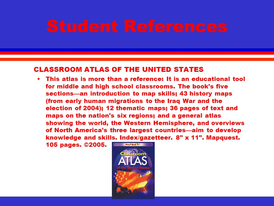 Student References Classroom Atlas Of The United States