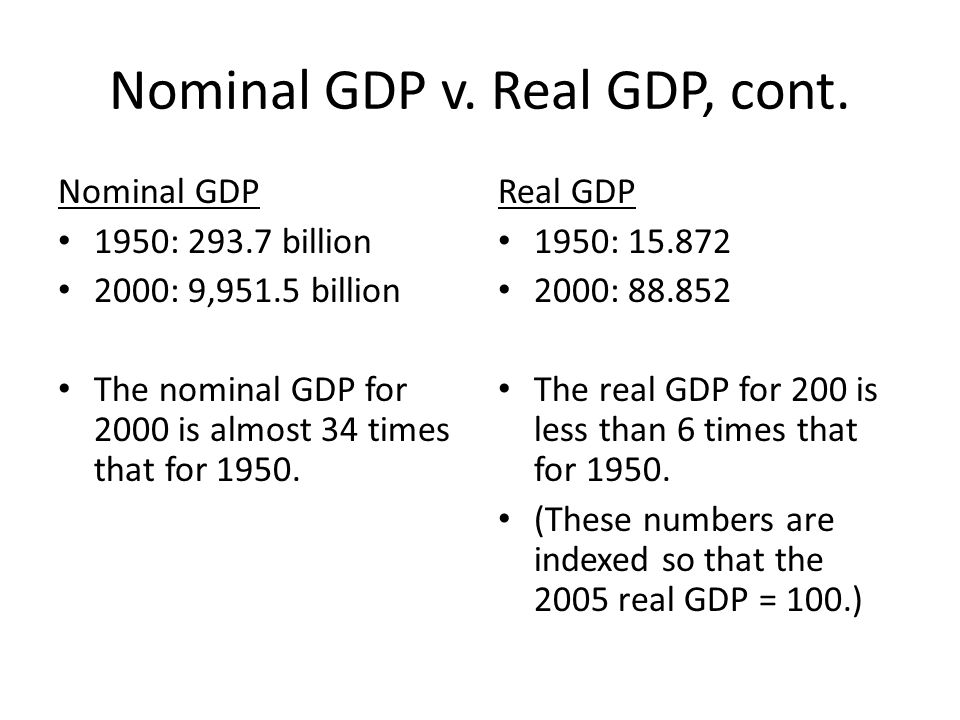 Nominal GDP v. Real GDP, cont.