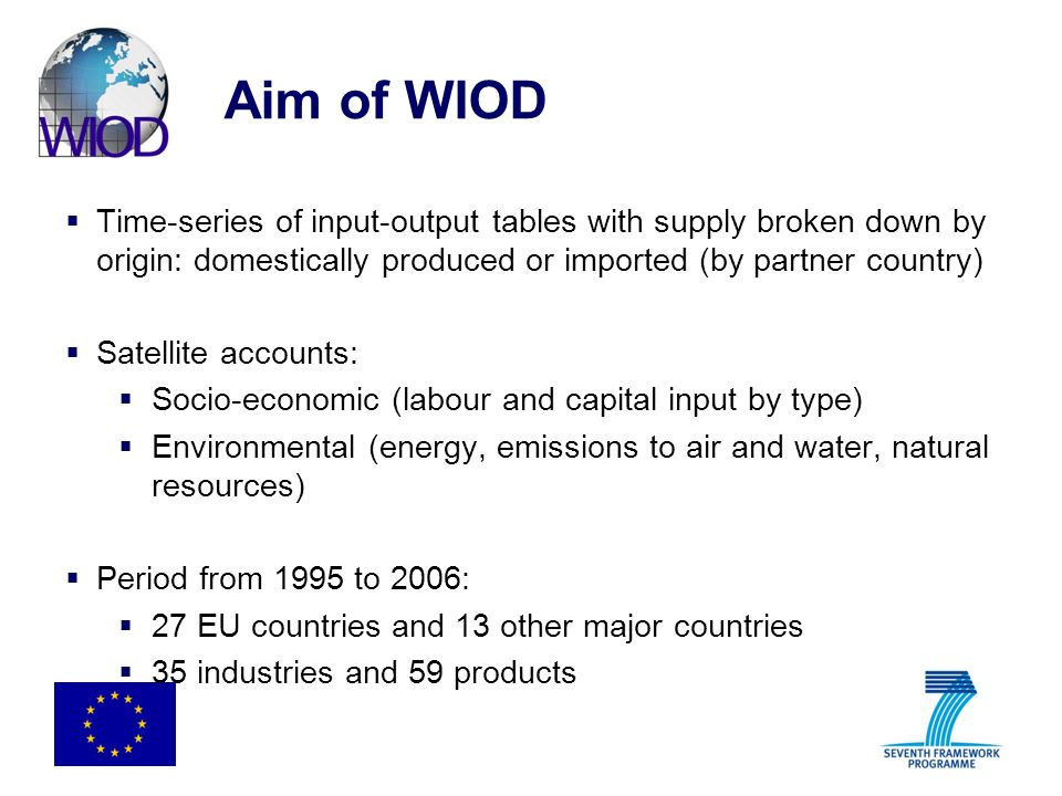 Aim of WIOD Time-series of input-output tables with supply broken down by origin: domestically produced or imported (by partner country)