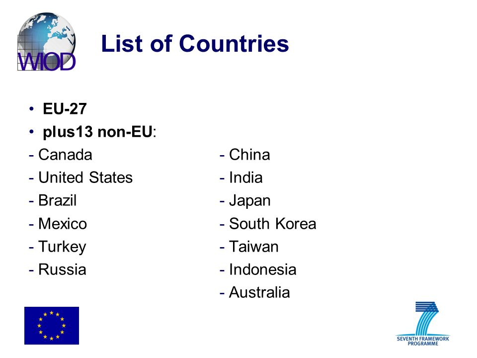 List of Countries EU-27 plus13 non-EU: - Canada - China