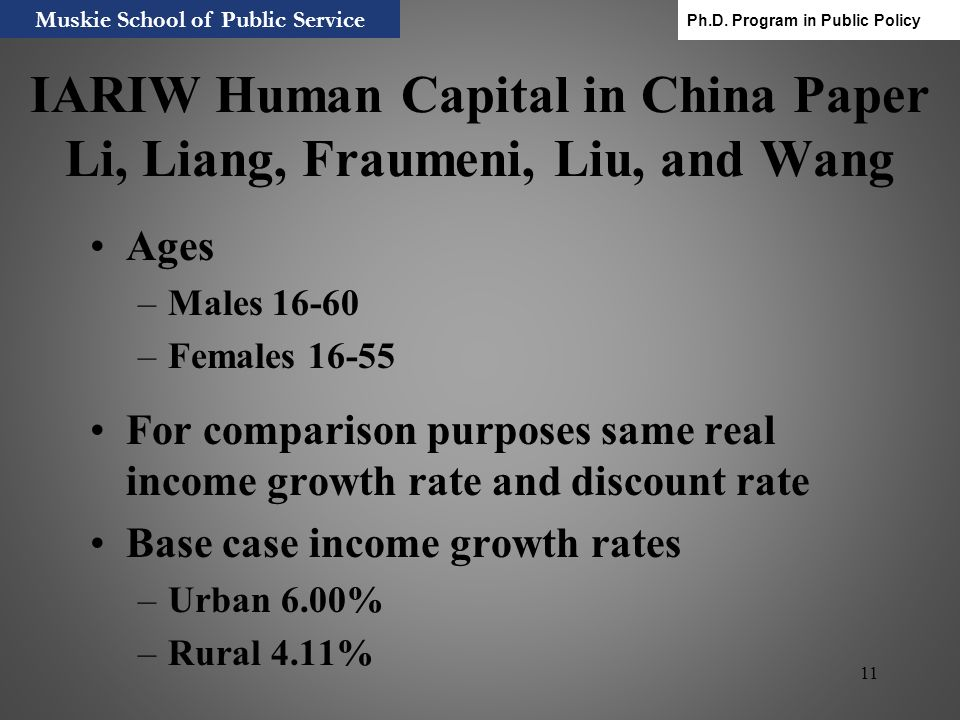 IARIW Human Capital in China Paper Li, Liang, Fraumeni, Liu, and Wang