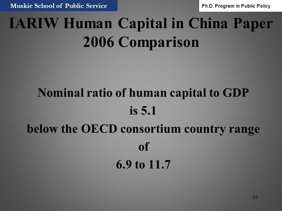 IARIW Human Capital in China Paper 2006 Comparison