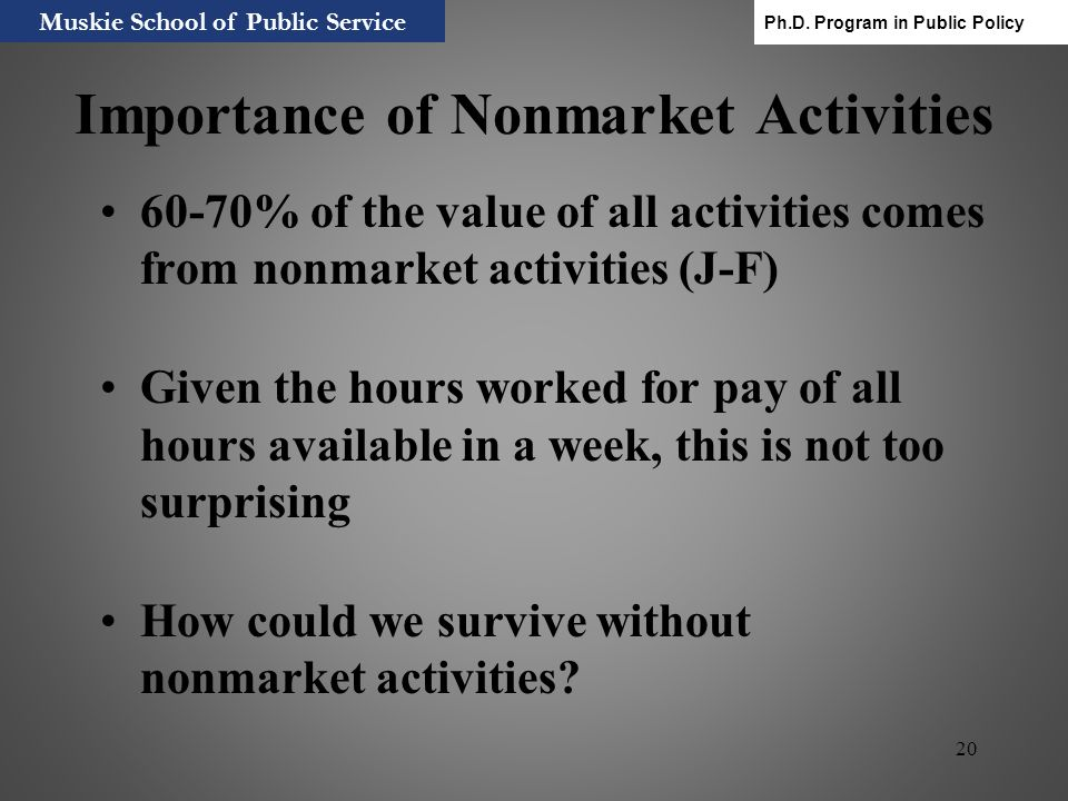 Importance of Nonmarket Activities