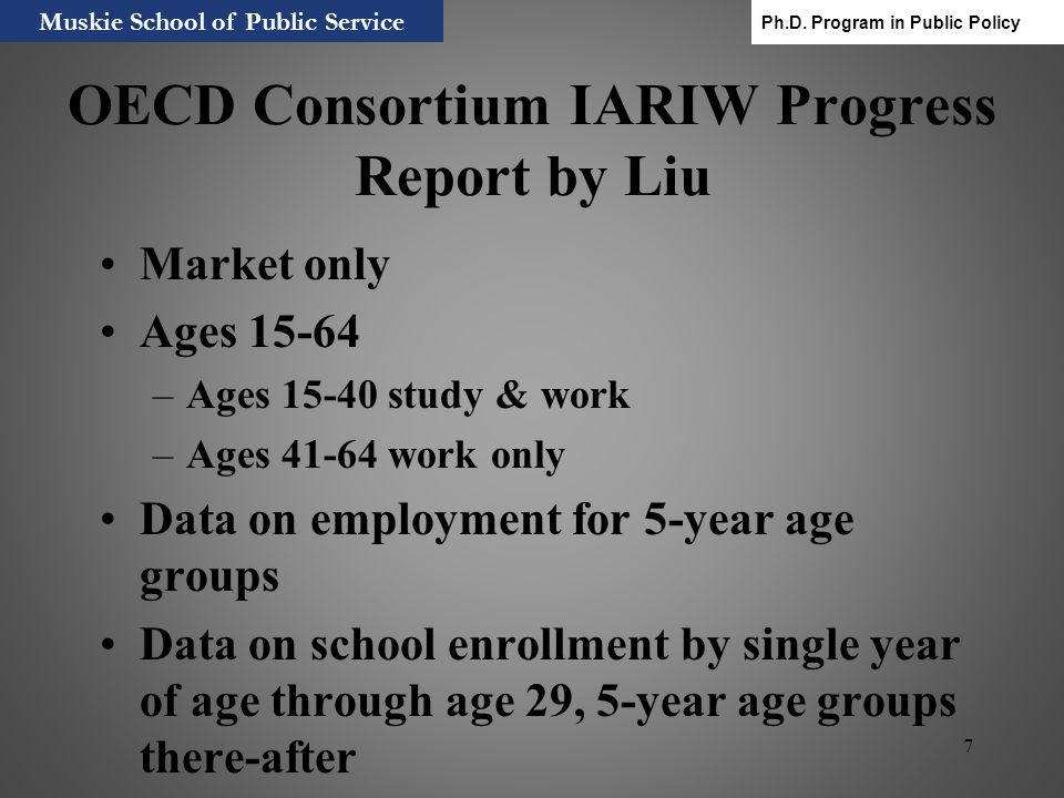 OECD Consortium IARIW Progress Report by Liu