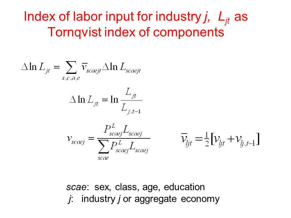 Index of labor input for industry j, Ljt as Tornqvist index of components