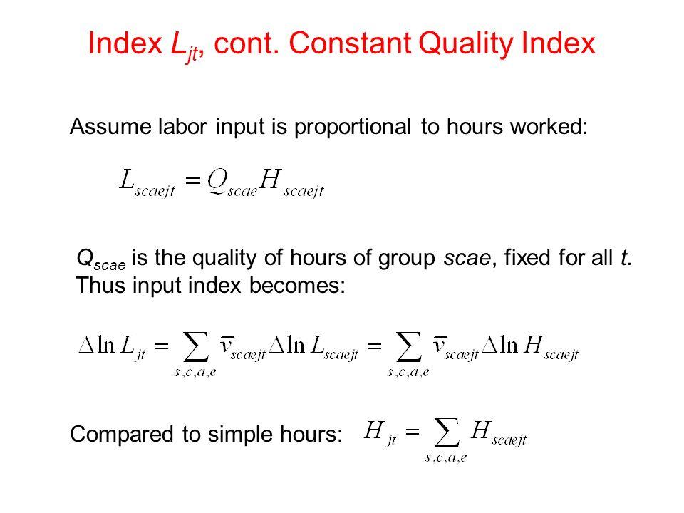 Index Ljt, cont. Constant Quality Index