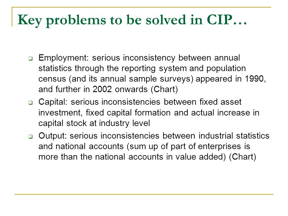 Key problems to be solved in CIP…