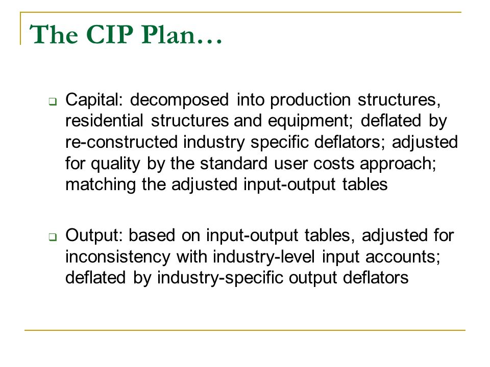 The CIP Plan…